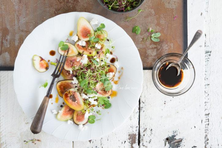 Fig Salad with Marinated Danish Feta & Sweet Balsamic Vinegar