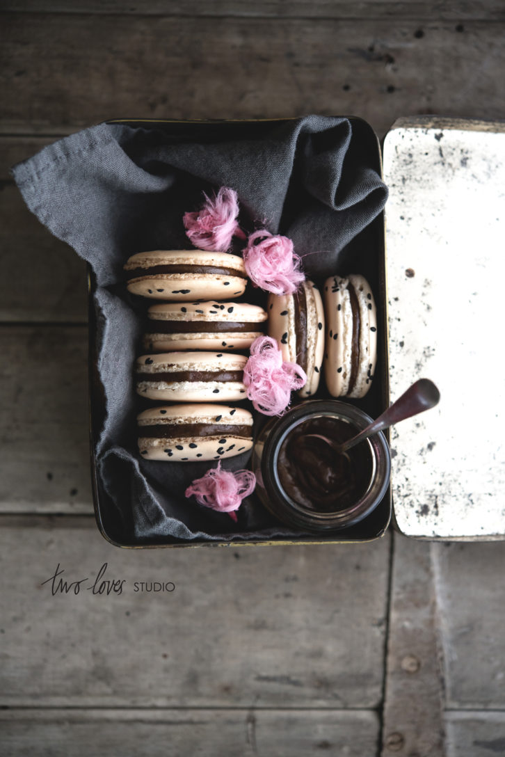 Liquorice Macaron with Persian Fairy Floss Roses
