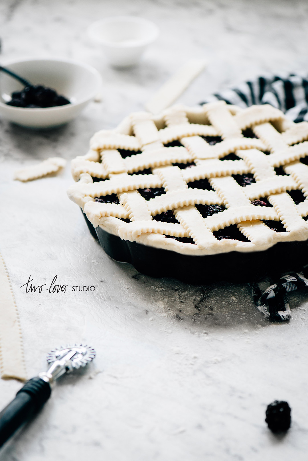 Two Loves Studio Black White Food Photography Blackberry Pie