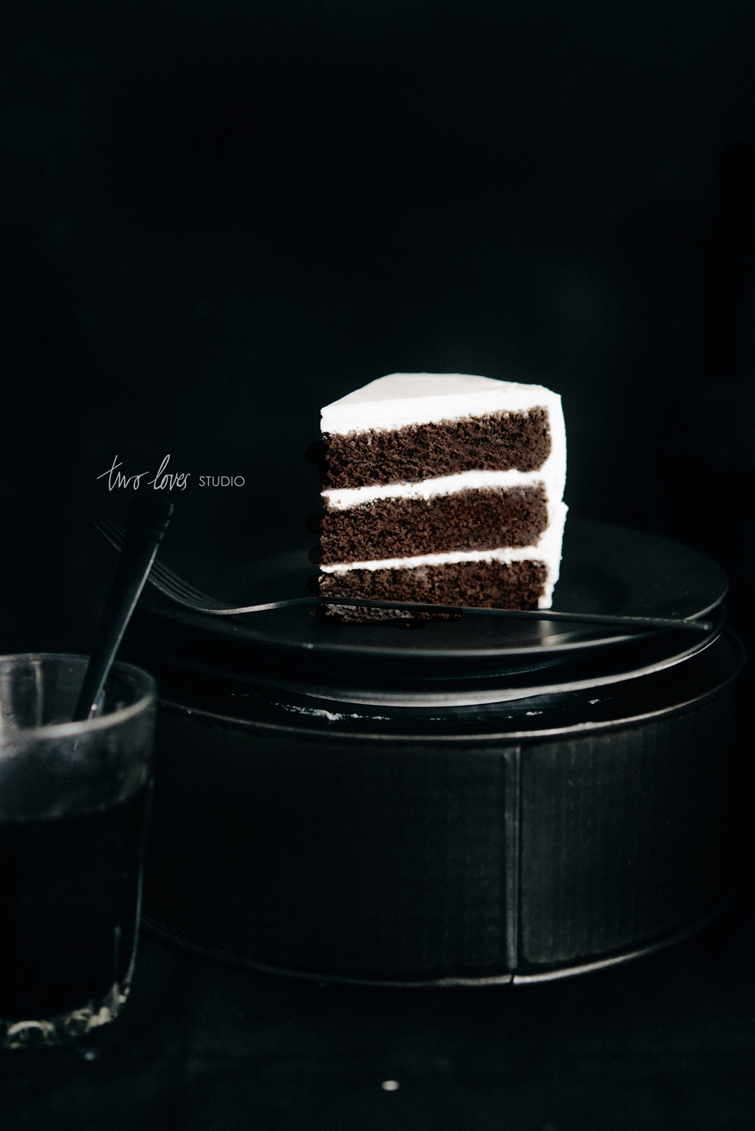 Two loves studio black white food photography chocolate cake two loves studio black white