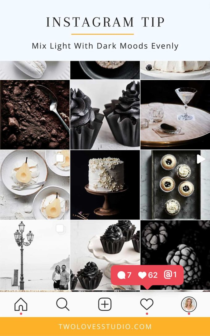 A screenshot of a food photography instagram with black, white and brown food photos.