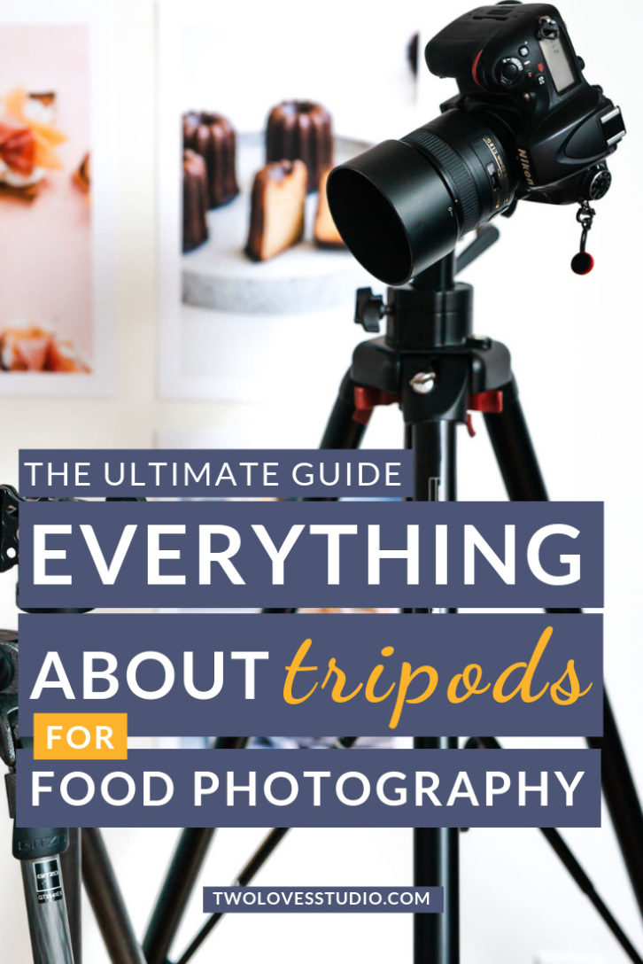 Black DSLR camera on tripod with food photography prints in the background.