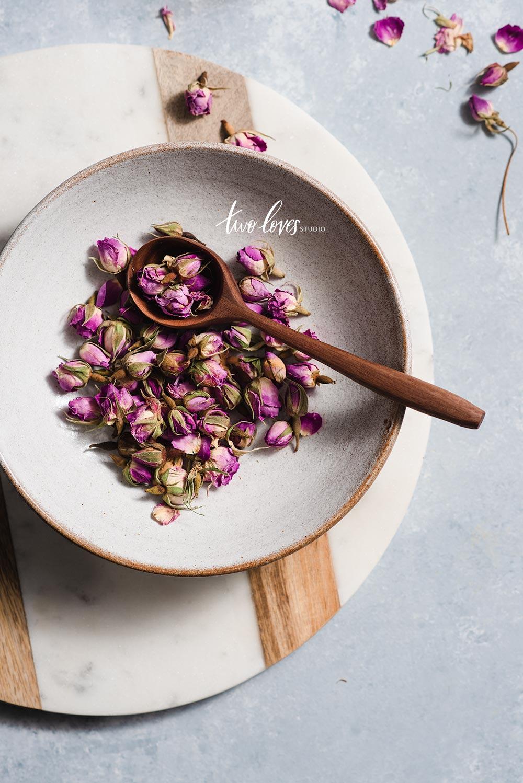 Bowl full of dried rosebuds