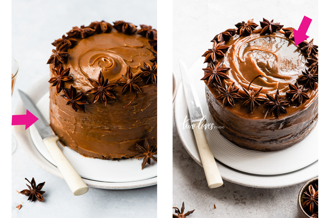 I'm sharing my top secrets I learned by shooting this cake twice. And it totally improved my cake photography. From ugly to jaw-dropping. Read all 7 tips.