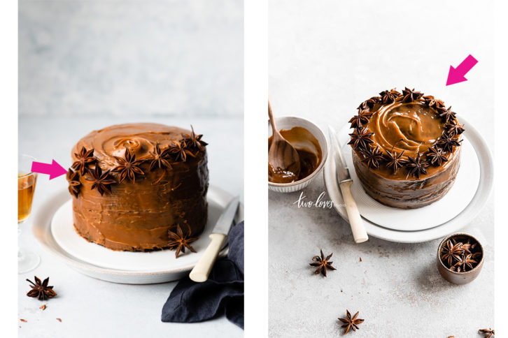 Side by side shot of the hero shot of the caramel cake.