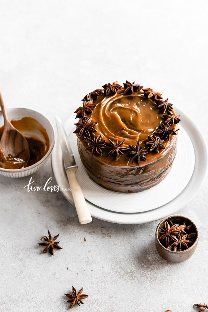 Caramel cake with star anise on top