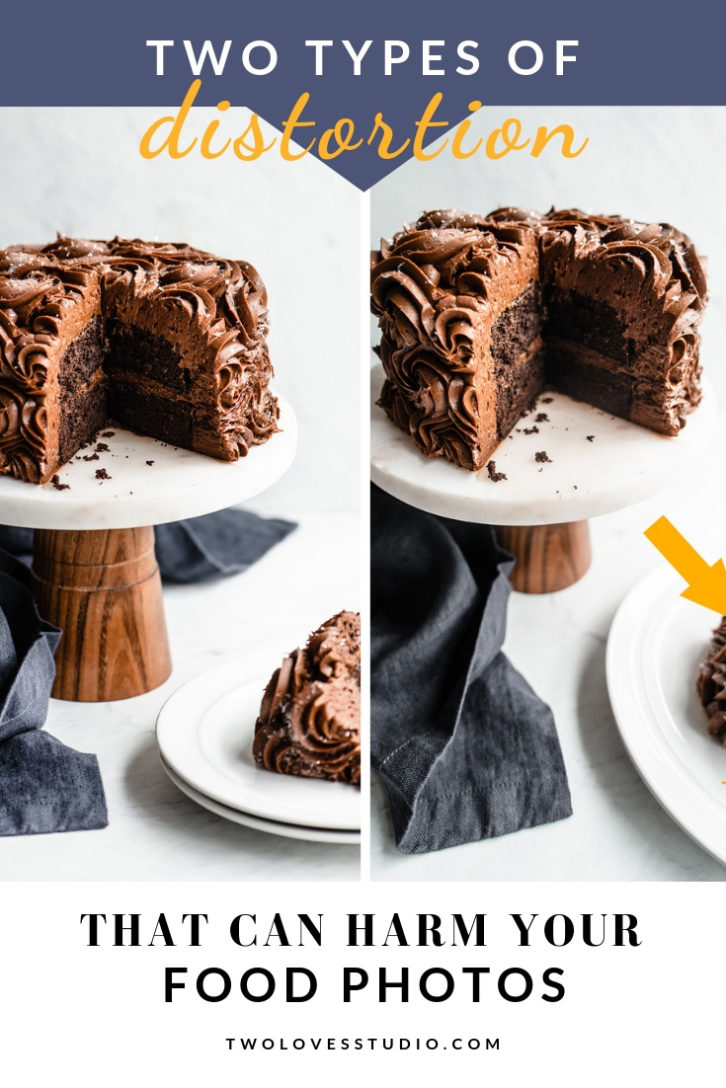 Two cakes on top of a cake stand with a slice cut out.