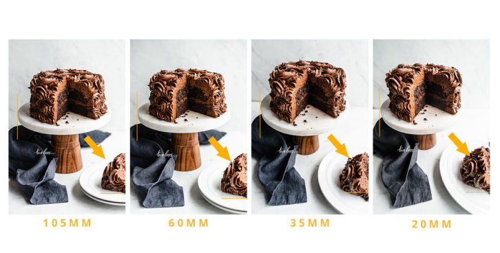 Chocolate cakes on top of a cake stands with a slice cut out on a white background. Example of camera lenses 105mm / 60mm / 35mm and 20mm.