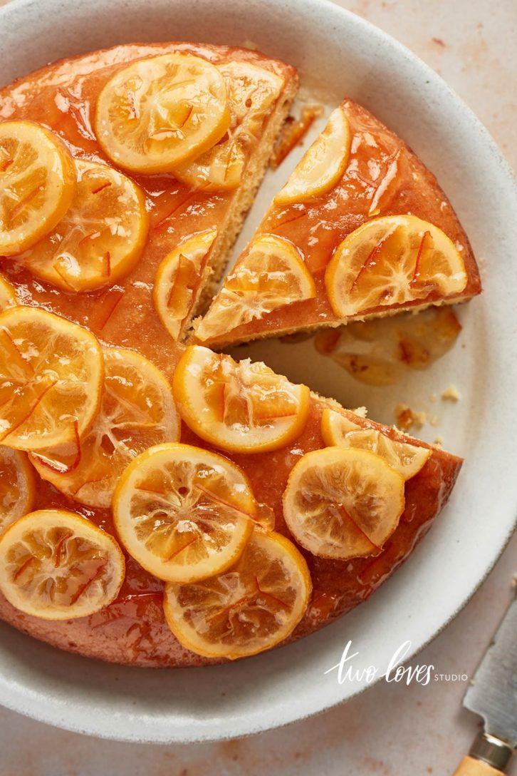A round cake with a orange glaze