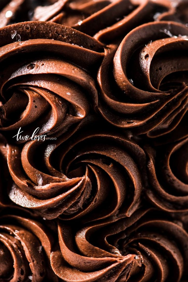 Close up shot of swirls of chocolate icing.