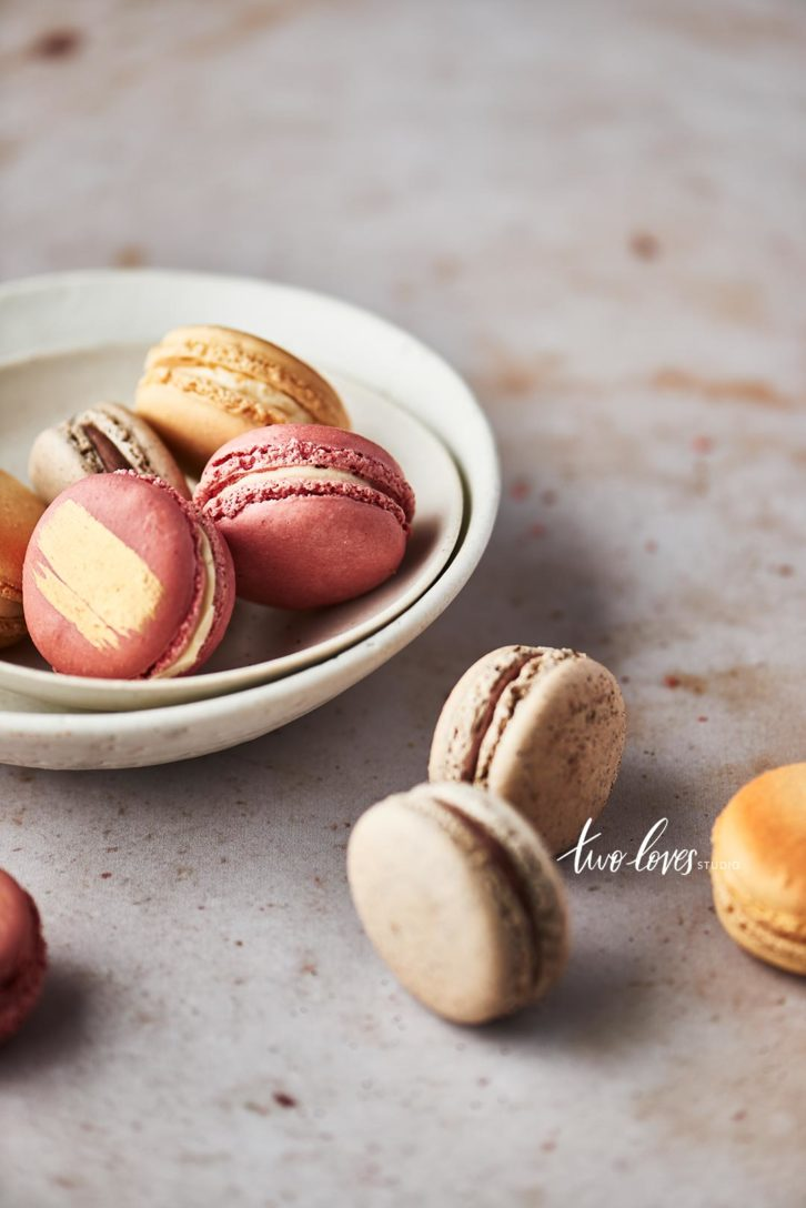 Macaroons in a white bowl