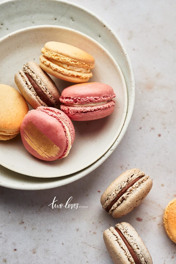 Group of macaroons in a white bowl