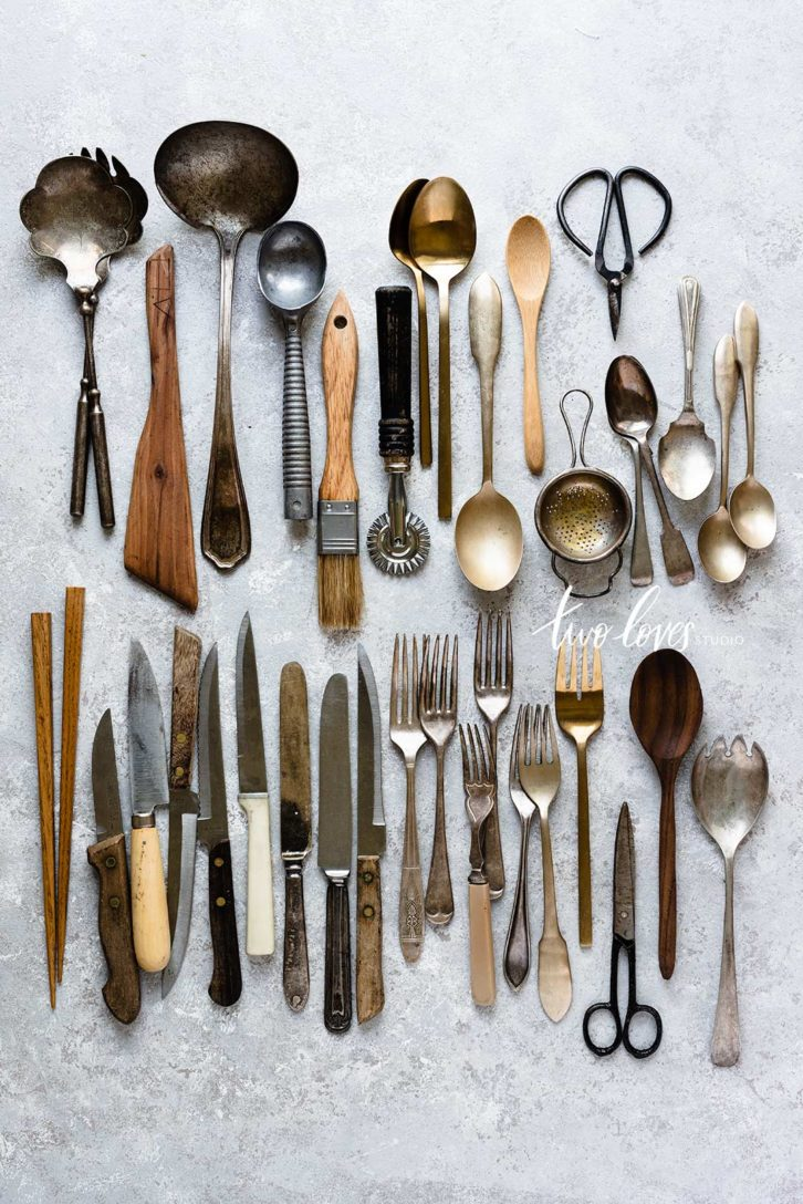Props of knives, forks, and smaller objects from scissors to brushes