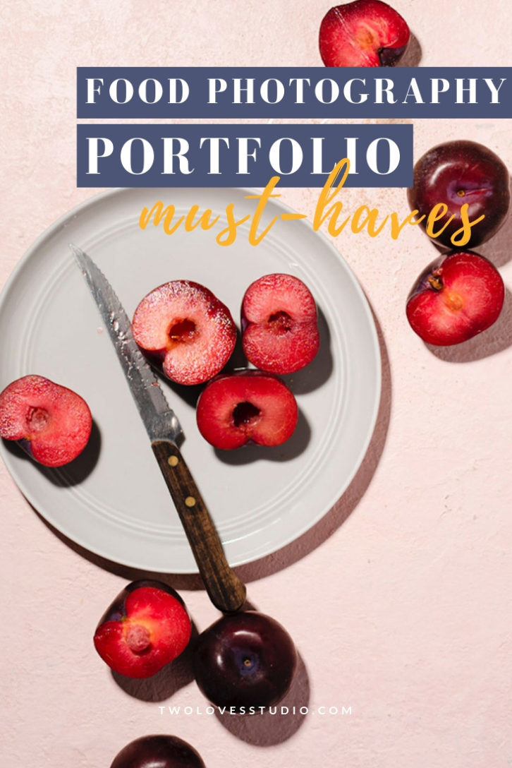Food Photography Portfolio must haves. A plate of stone fruits cut in half on a white plate.