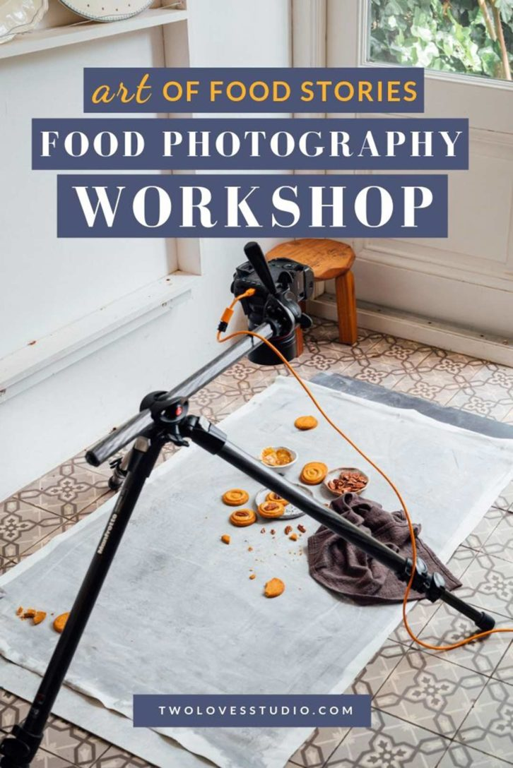 Art of Food stories. A camera set up with a tripod and cookies and cakes underneath.