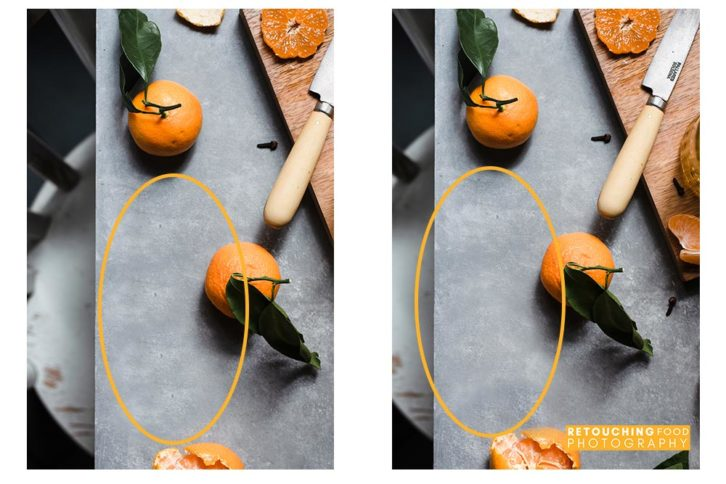 Side by side photo of before and after shot of clementines.