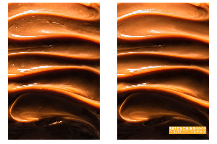 Caramel swirl side by side before and after shot.