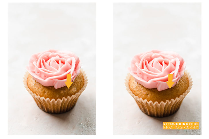 Side by side photos of a cupcake with a pink rose piped on-top.