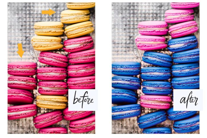 Before and After photo of macaroons. that have been retouched from their original yellow and deep pink colour to light pink and blue.