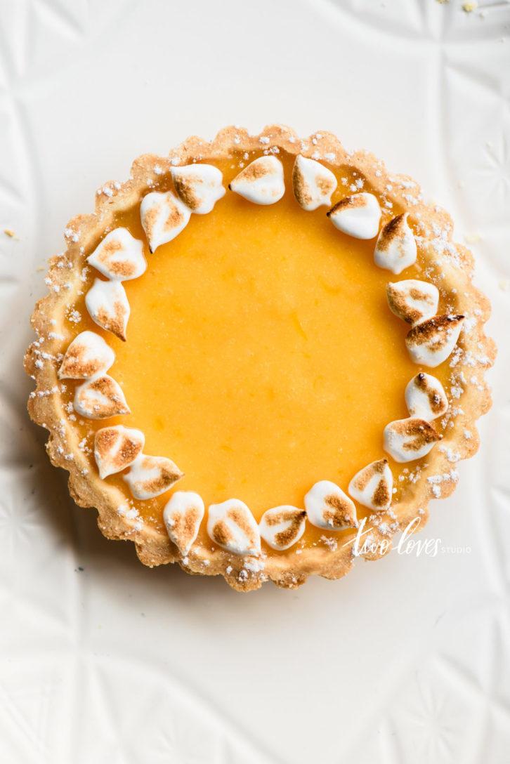 Lemon yellow tart with meringue wreath