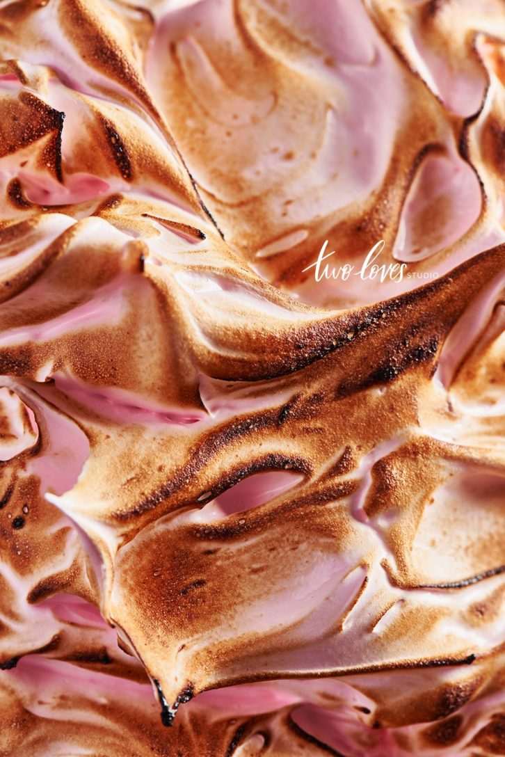 Pink meringue up-close swirls