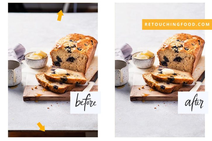 Before and After photo of blueberry bananna bread with honey drizzle and a side of butter.