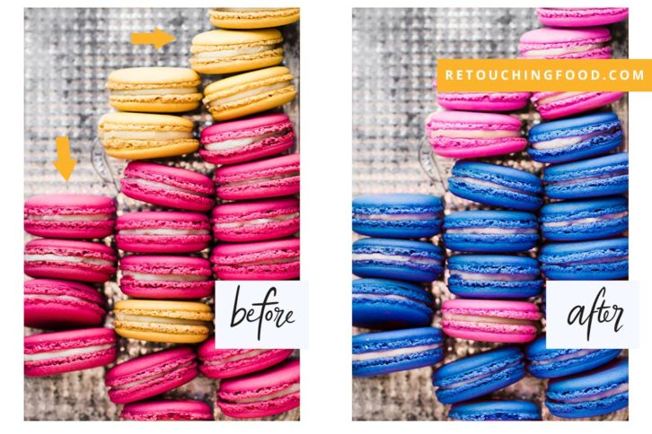Coloured Macarons before and after. Colour change from pink and yellow to pink and blue.
