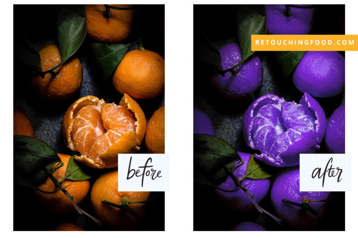 A photo of Clementines before as orange coloured and after changed to purple.