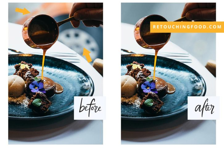 Photo of a desert before and after shot with caramel drizzle and an orange car in the back ground.