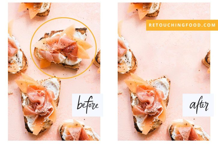 Photo of parma ham on toast. Before and After shot.