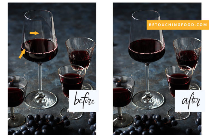 Photo of Red Wine glasses and black grapes. Glasses have before and after reflection.