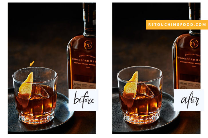 Scratched Whiskey Glass before and after photo. Woodford Reserve.