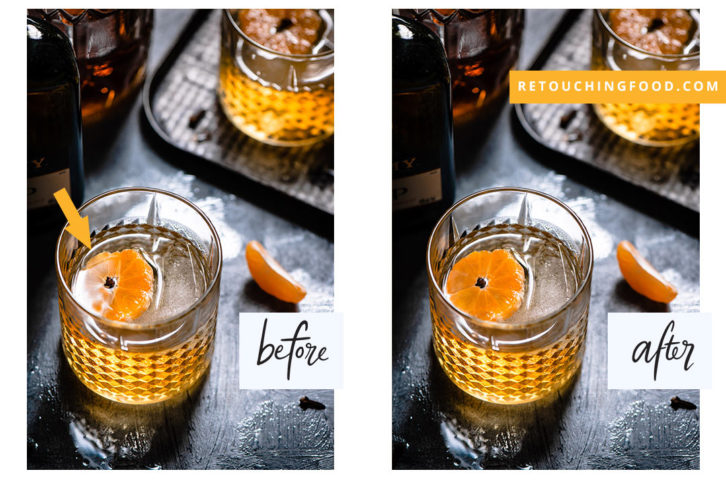 Whiskey Sour with clementine. Before and after photo.
