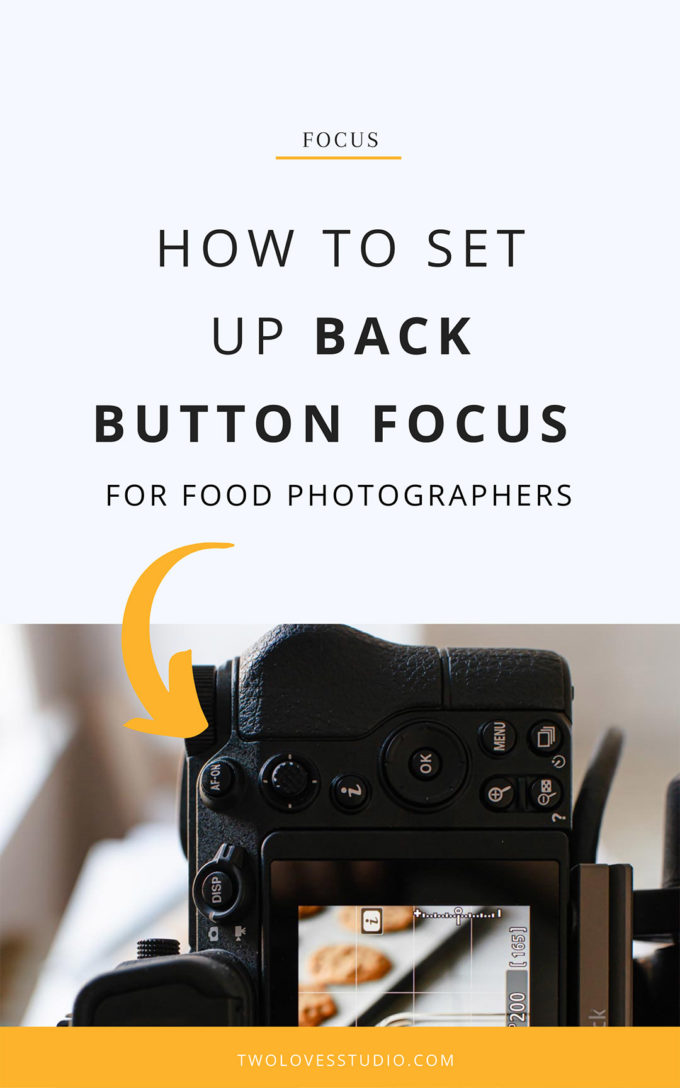 Picture of the back of a camera showing the AF-ON back button focus. Camera is taking a shot of cookies to show how to use this button.