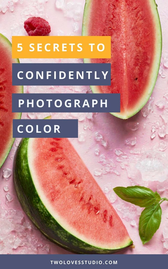 5 Secrets to Confidently Photograph Color. Flat-lay of whole watermelon cut into halves.