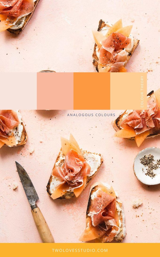 Example of Analogour colours. Colour Theory swatches. Crunchy bread toasted, with salmon placed on top of cantaloupe.
