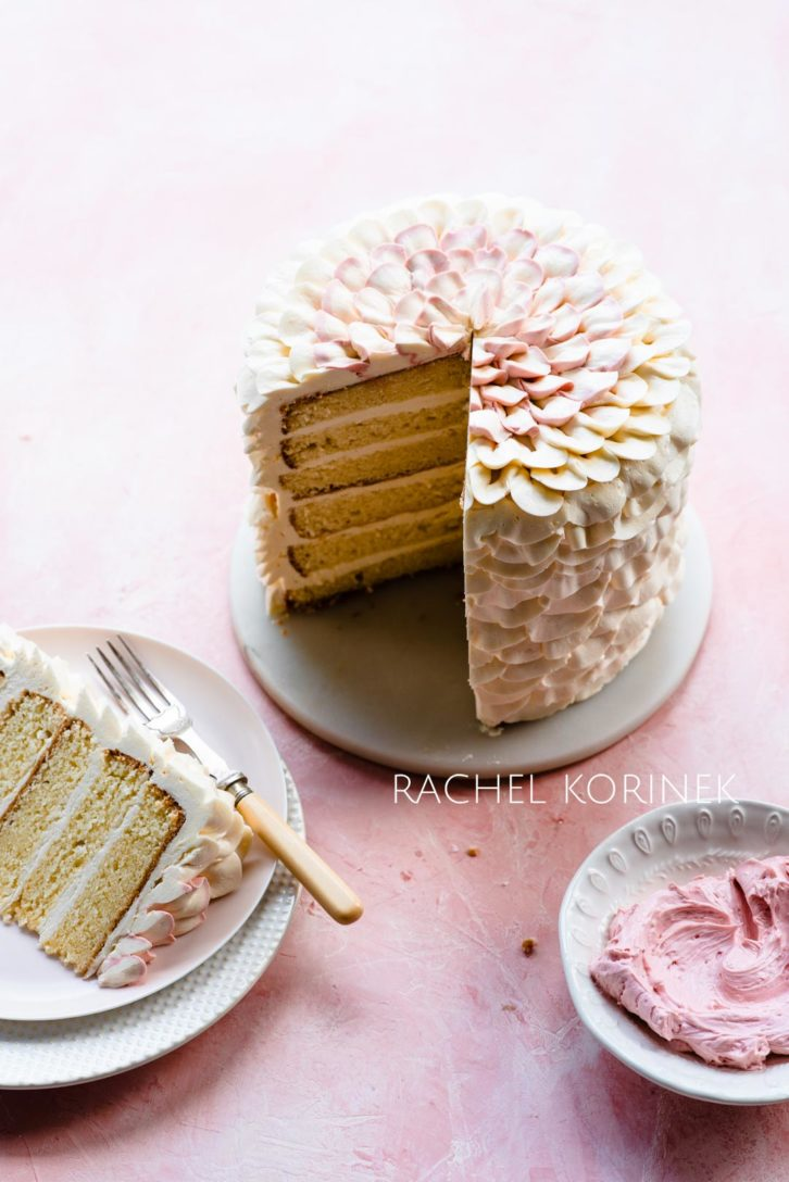 Vanilla layered cake with floral icing