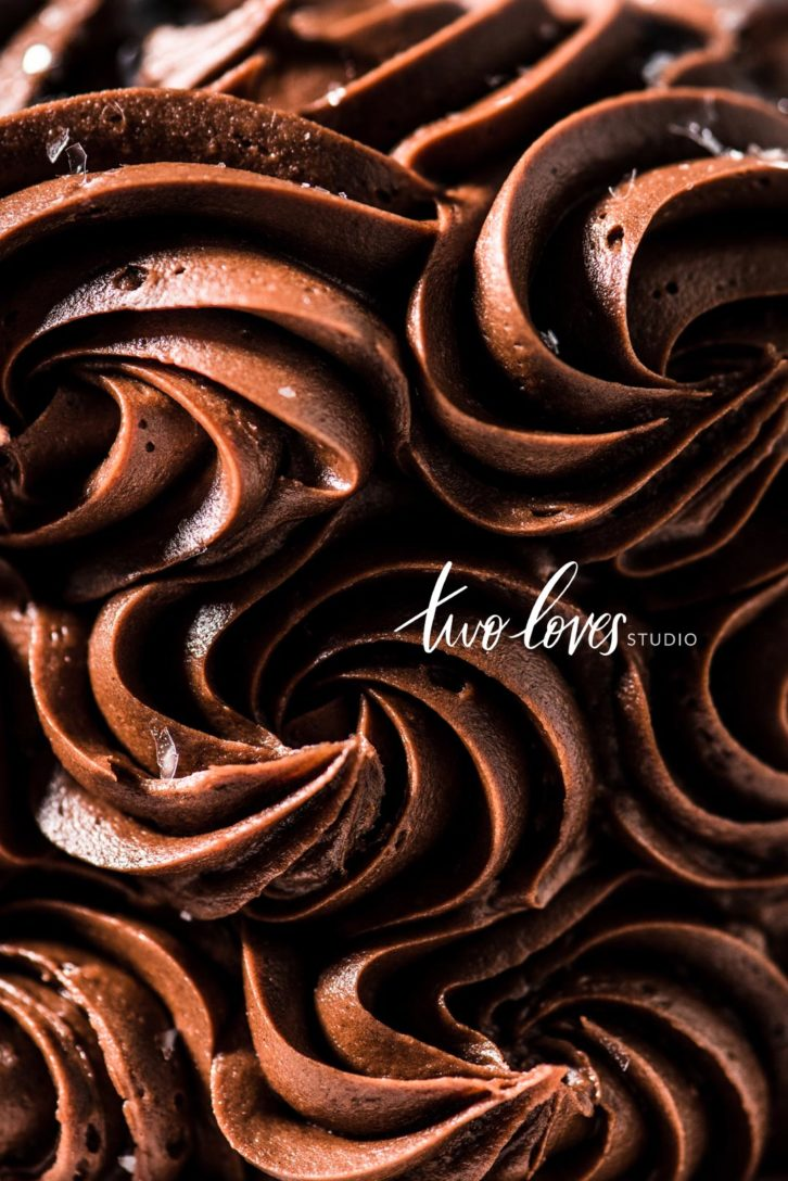 A macro shot of a chocolate swirl cake.