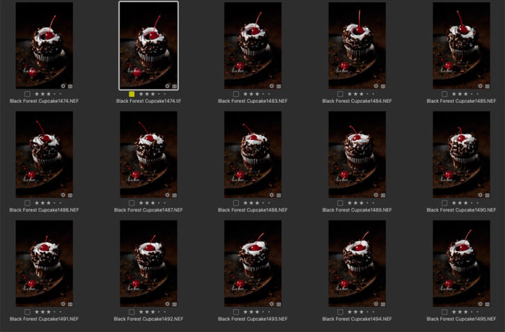 A gird view of cupcakes in a photo editing program to see side by side comparison.