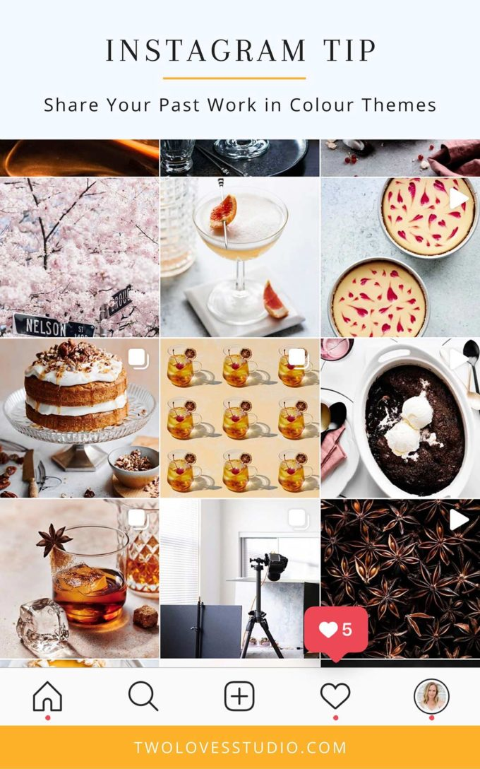 A screenshot of a food photography instagram with pink, blue and brown food photos.