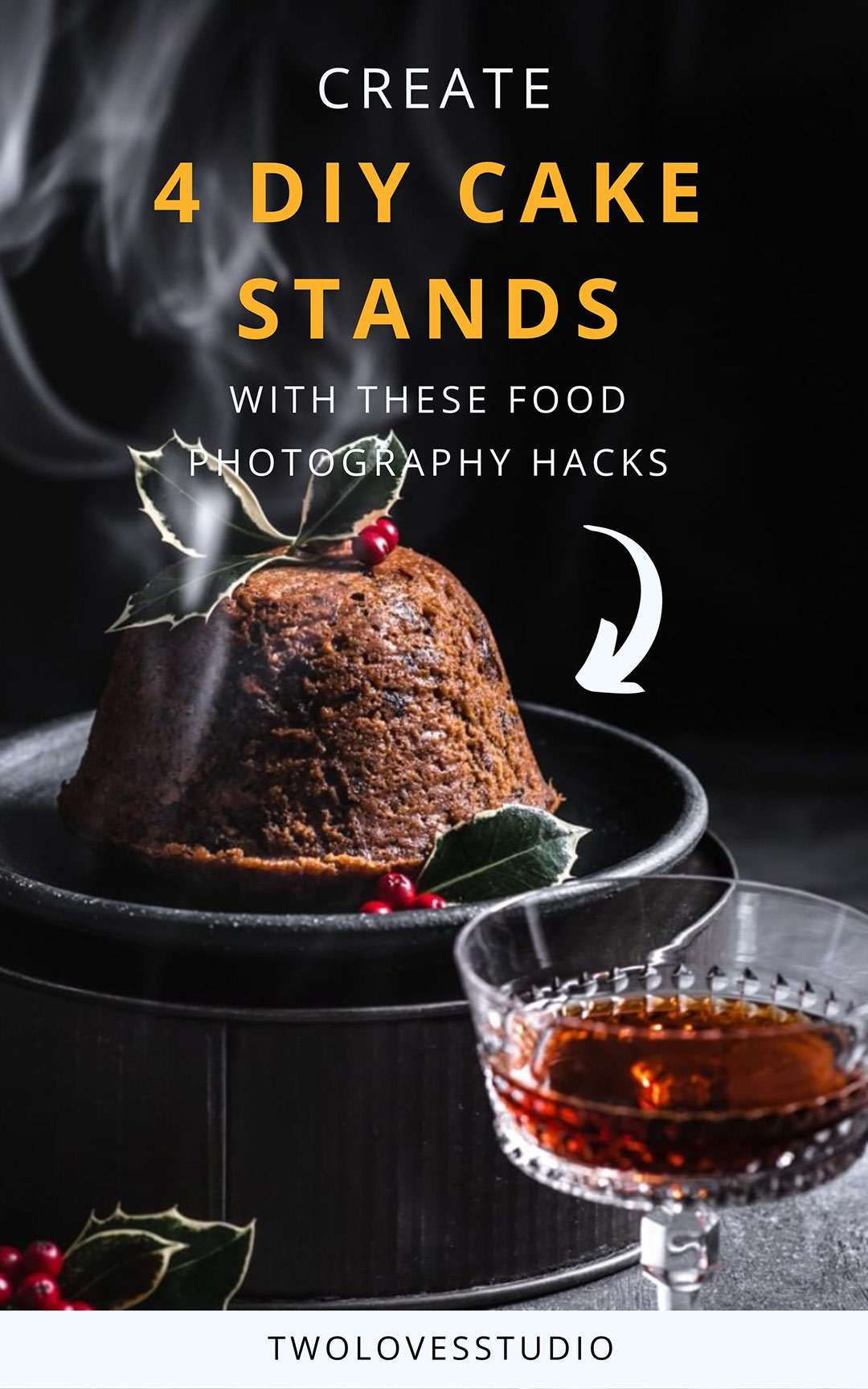 Christmas plum pudding on cake stand
