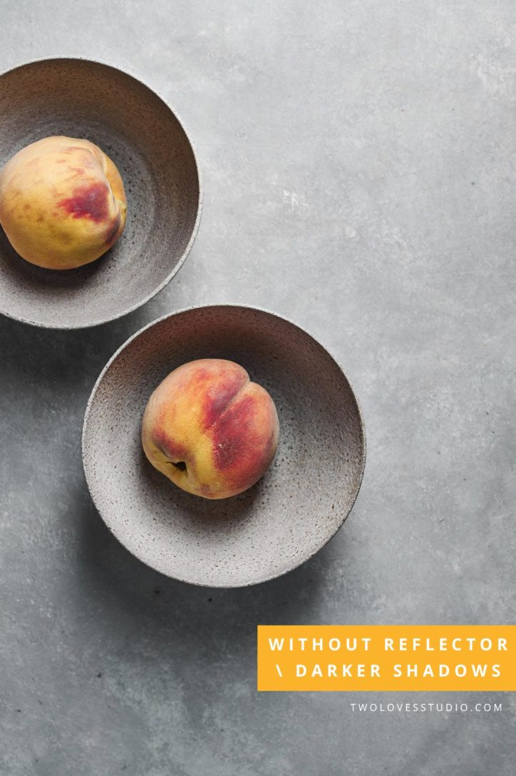 two bowls of a peach with dark shadows