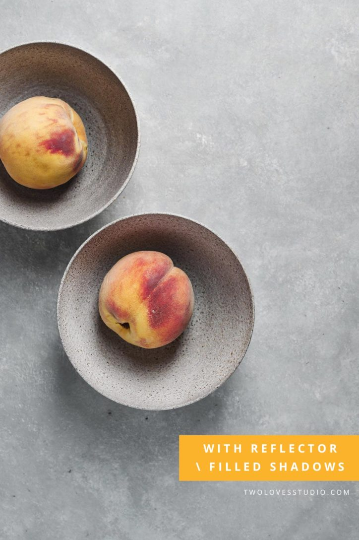 two bowls of a peach with soft shadows