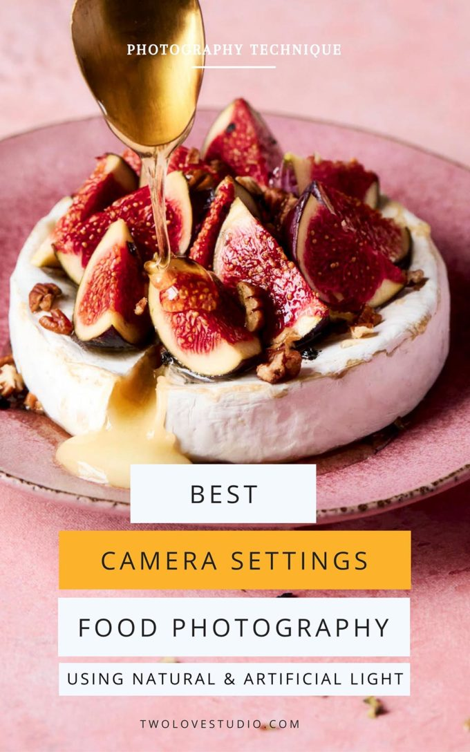A baked brie with figs and pecans. Drizzled honey is delivered to the top to garnish by a gold spoon. Text over the top that reads best camera settings for food photography using natural and artificial light.