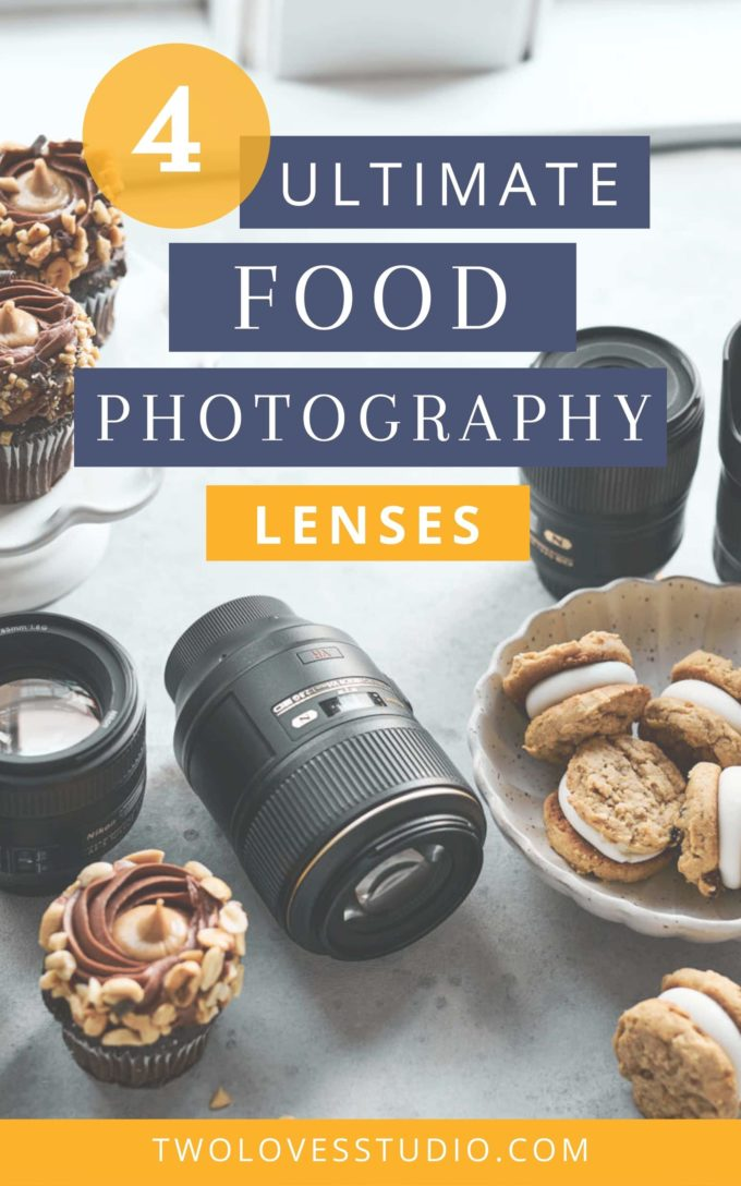 photography lenses on a table with cookies in a bowl and cupcakes on a cake stand.