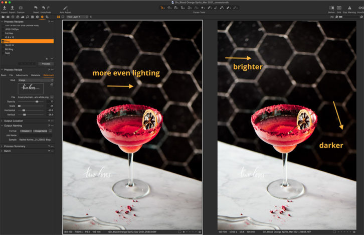 Screen shot of a blood orange margarita glass an orange garnish before and after editing. Screenshot showing tips for how to perfectly photography black backgrounds.
