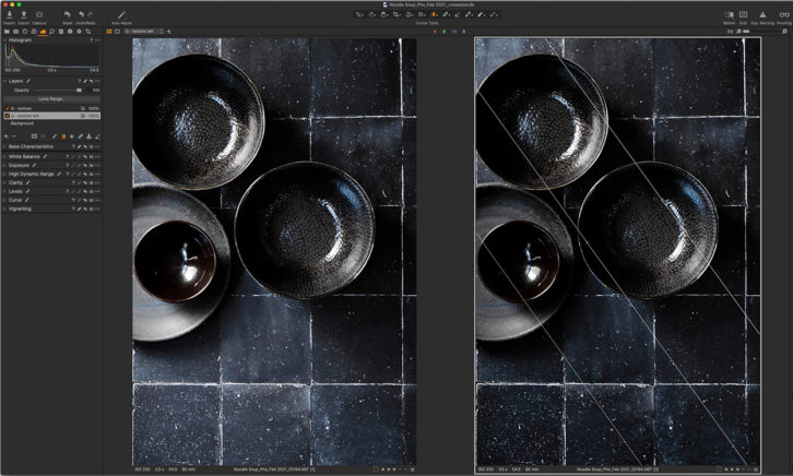 Screen shot, before and after of a black background with black bowls. Screenshot showing tips for how to perfectly photography black backgrounds.
