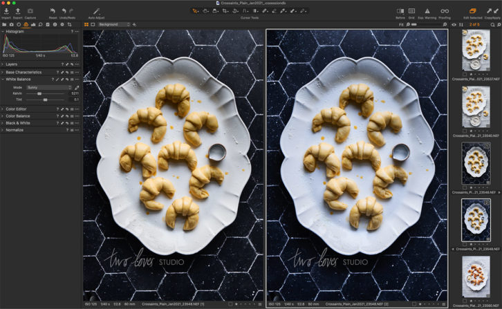 Before and After shot - Black background with a white plate shot from above with 8 mini croissants.  Screenshot showing tips for how to perfectly photography black backgrounds.