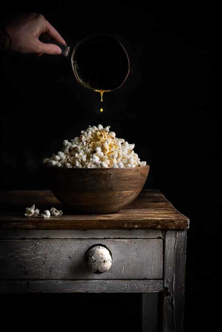 Buttery Popcorn by Donna Crous  Food photo shot with Nikkor 85mm f1.8 Z.