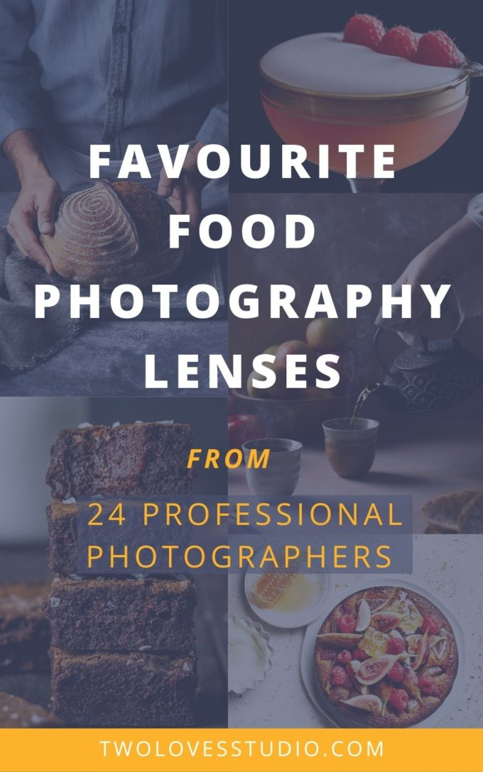 a collage of food photography images with the text favourite food photography lenses.